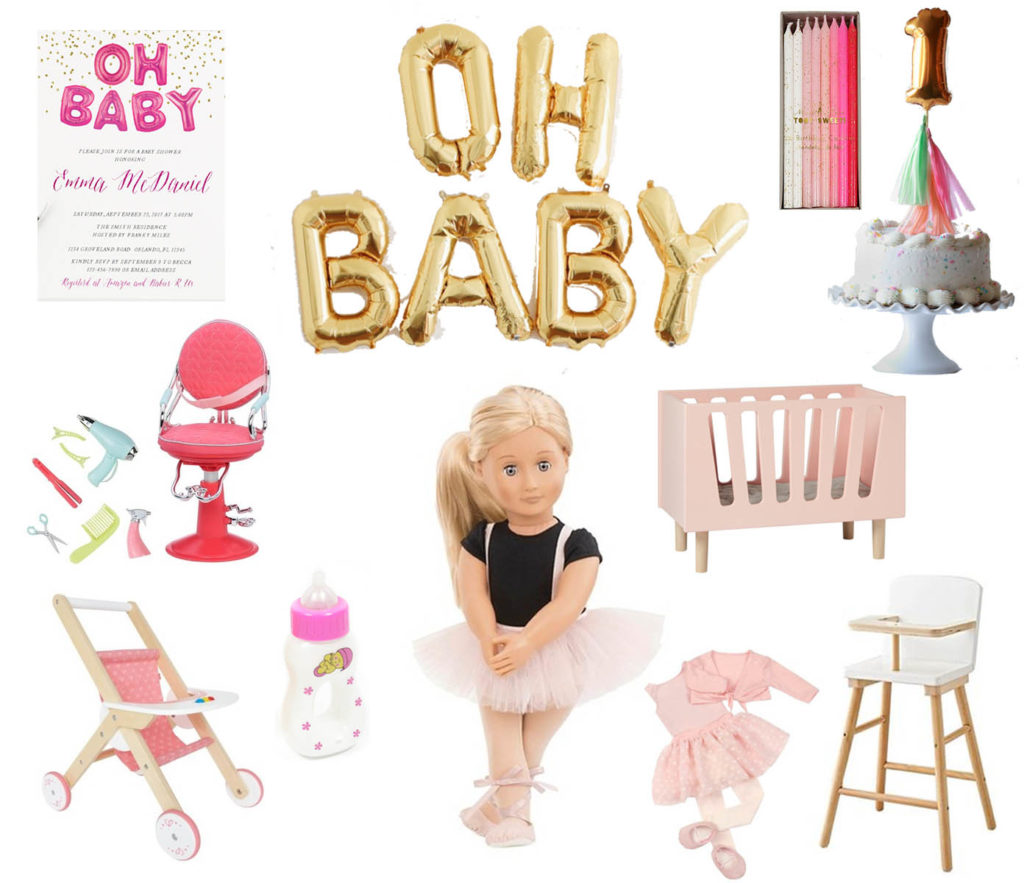 Invitation Oh Baby Balloons Candles Cake Topper Salon Chair Stroller Bottle Doll Clothes Crib High